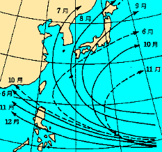 台風の主な経路