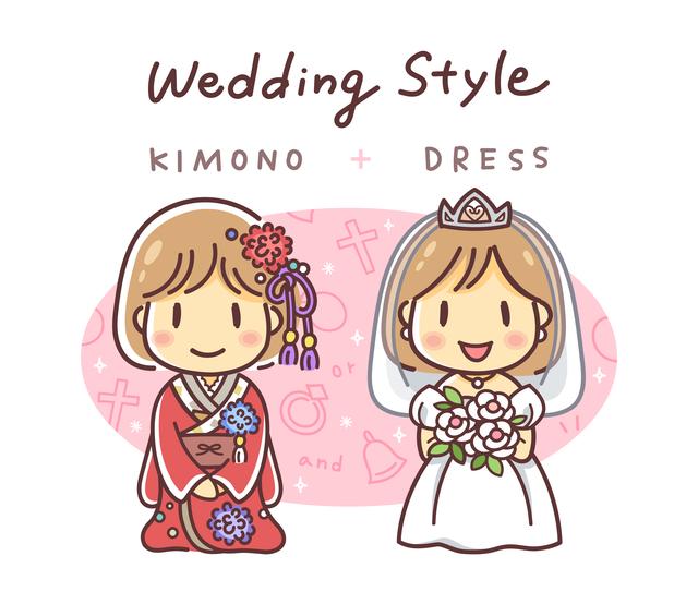 ドレスなどの洋装と白無垢などの和装
